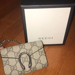 Gucci Dionysus Supreme Canvas Coin Purse on chain